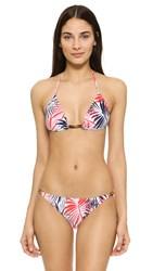 Milly Palm Print Positano Bikini Top White Multi
