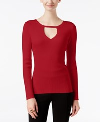 Inc International Concepts Petite Cutout Sweater Only At Macy's Real Red