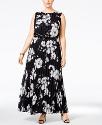 Jessica Howard Plus Size Floral Print Belted Maxi Dress Gray