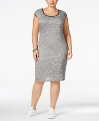 Love Squared Plus Size Textured Bodycon Sweater Dress Black Heather