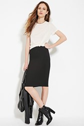 Forever 21 Contemporary Ribbed Pencil Skirt Black