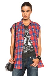 R 13 R13 Zipper Top In Red Checkered And Plaid
