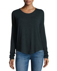 Rag And Bone Hudson Heathered Long Sleeve T Shirt Scarab Black Scarab Black