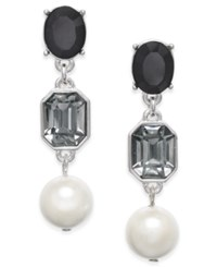 Charter Club Stone And Imitation Pearl Drop Earrings Only At Macy's Black