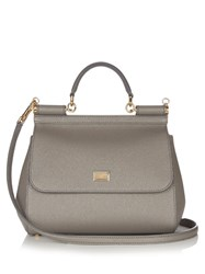 Dolce And Gabbana Sicily Small Leather Tote Grey