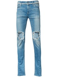 Christian Dada Ripped Skinny Jeans Blue