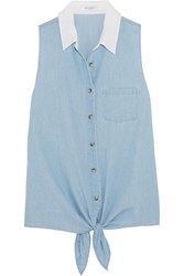 Equipment Mina Tie Front Cotton Chambray Shirt Light Blue