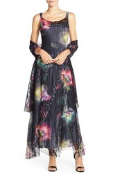Women's Komarov Floral Print Chiffon Gown And Wrap