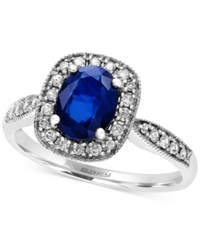 Effy Collection Royal Bleu By Effy Sapphire 1 3 8 Ct. T.W. And Diamond 1 5 Ct. T.W. Ring In 14K White Gold Blue
