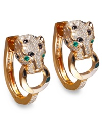 Effy Collection Effy Signature Black And White Diamond 3 4 Ct. T.W. And Emerald Accent Panther Hoop Earrings In 14K Rose Gold