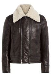 Dsquared2 Leather Pilot Jacket With Shearling Collar Brown
