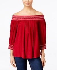 Inc International Concepts Off The Shoulder Peasant Top Only At Macy's Glazed Berry