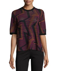 M Missoni Short Sleeve Geometric Knit Top Fuchsia