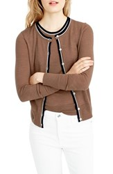 J.Crew Women's Collection Jackie Tipped Lightweight Wool Cardigan