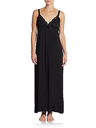 Jonquil Lace Trimmed Nightgown Black