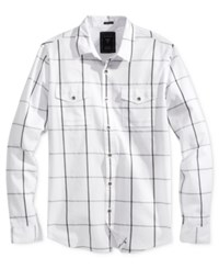 Guess Men's Clover Mixed Check Shirt Clover Mixed Check True White