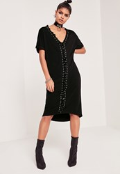 Missguided Lace Up Eyelet Oversized Dress Black