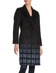 Helene Berman Ombre Check Coat Black
