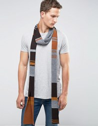 Asos Longline Striped Scarf Brown