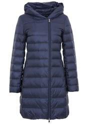 Hallhuber Flat Woven Fabric Hooded Down Coat Blue