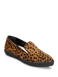 Alice Olivia Rory Leopard Print Calf Hair Flats Tan Multi