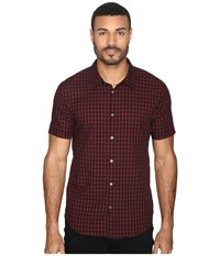 John Varvatos Slim Fit Sport Shirt With Cuffed Short Sleeves W443s4b Black Men's Clothing
