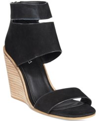 Kelsi Dagger Brooklyn Mackie Wedge Sandals Women's Shoes Black Nubuck
