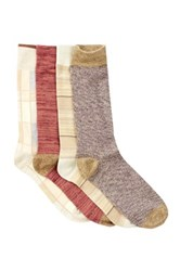 Lucky Brand Stripes And Plaid Crew Socks Pack Of 4 Red