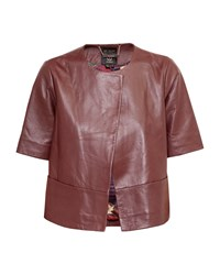 Ted Baker Losimia Short Leather Jacket Red