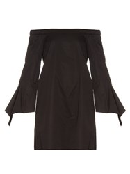 Tibi Off The Shoulder Cotton Mini Dress Black