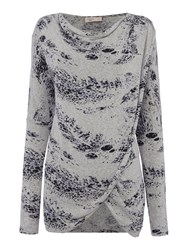 Label Lab Feather Print Wrap Over Cowl Knit Jumper Multi Coloured Multi Coloured