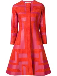 Oscar De La Renta Geometric Print Coat Red