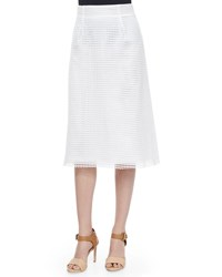 French Connection Space Lace Raw Edge Midi Skirt Summer White