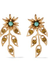 Elizabeth Cole Gold Tone Crystal And Stone Earrings