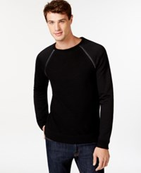 Guess Ribbed Zipper Detailed Pullover Sweater Jet Black