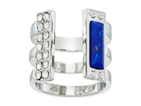 Guess Look Of 3 Band Open Front Ring Silver Crystal Lapis Ring Blue