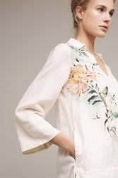 Anthropologie Watercolor Printed Tunic Top White