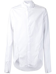 Barbara I Gongini Cut Out Band Collar Shirt White