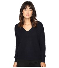 Brigitte Bailey Francesca Lace Up Long Sleeve Sweater Dark Storm Women's Sweater Blue