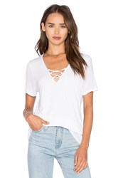 Lanston Lace Up Tee White