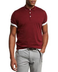 Brunello Cucinelli Short Sleeve Polo Sweater Cherry