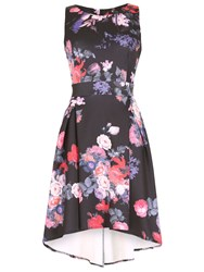 Cutie Floral High Low A Line Dress Black