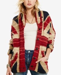 Denim And Supply Ralph Lauren Knit Graphic Shawl Cardigan Red Cream Blue