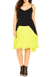 Plus Size Women's City Chic 'Pleated Citron' Colorblock High Low Dress