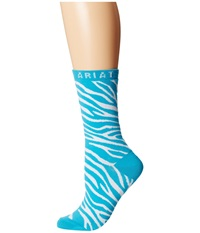 Ariat Zebra Crew Socks Blue White Women's Crew Cut Socks Shoes