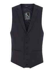 New And Lingwood Richmond Birdseye Waistcoat Navy