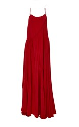 Adeam Flounce Overlay Gown Red