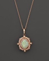Bloomingdale's Opal And Diamond Antique Inspired Pendant Necklace In 14K Rose Gold 16 Pink