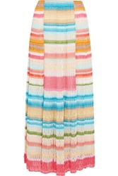 Missoni Striped Crochet Knit Maxi Skirt Pink