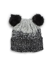 Saks Fifth Avenue Marled Ombre Beanie With Faux Fur Pom Poms Black